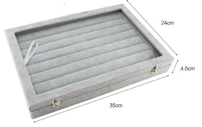 New 35*24*4.5cm Grey Jewelry Display Box Case for Rings Earrings Bracelets Necklaces or other Ornaments Storage Organizer