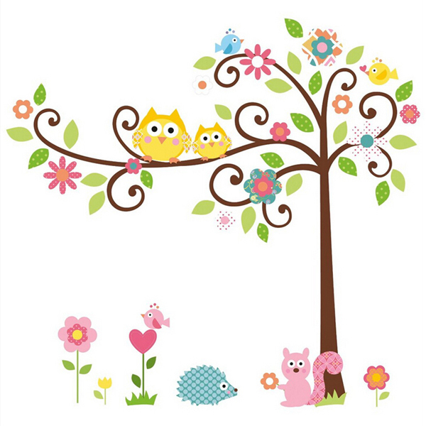 Wall Sticker For Kids Room Home Decor Cute Cartoon Decals Owl Wall Stickers Cartoon Decals