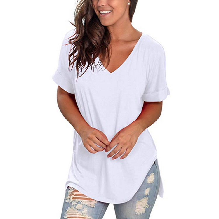 Women Blank Short Sleeve V Neck Tee Loose Cotton T Shirt For Casual Wear