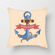 Fuwatacchi, анкерная Подушка, наволочка с морским синим компасом, наволочка для домашнего стула, декоративная наволочка с рулем океана 45*45 см(Китай)