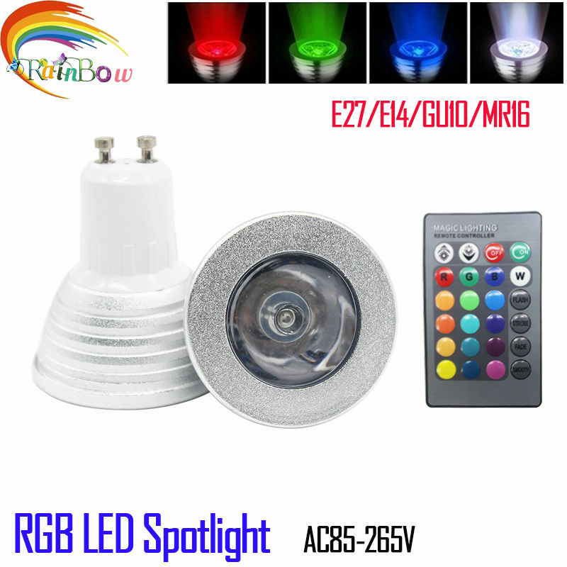 2016 new rgb led bulb e27 e14 gu10 5w rgb lamp light led spotlight rgb bulb 16 color change. Black Bedroom Furniture Sets. Home Design Ideas