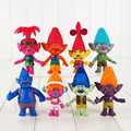 EMS 30Sets Lot 8pcs set Dreamworks Trolls 10 12cm Poppy Branch Bridget DJ Suki Guy Diamond