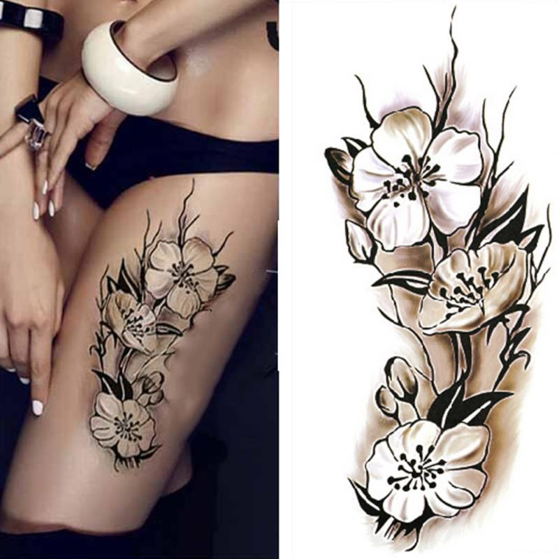 1 Piece Temporary Tattoo Sticker Water Transfer Wing: Sexy Women Temporary Tattoo Plum Blossom Waterproof Tattoo