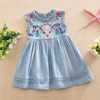 High Quality Jeans Embroidered Sleeveless Comfortable Brand Girls Party Dresses / Baby Girl Dresses / Baby Girl Party Dress