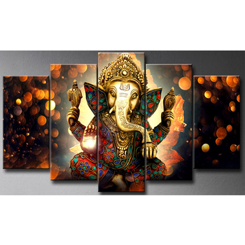 5 panels canvas print Indian buddha Hindu God Elephant Ganesha painting factory wholesale cheap price high quality