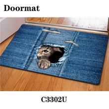 HUGSIDEA Kawaii 3D джинсовый коврик для кошек и собак Нескользящие кухонные коврики для гостиной Alfombras Tapis Salon(Китай)