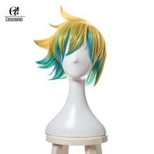 ROLECOS LOL Ezreal Косплей головной убор Звездный Guardian Ezreal косплей короткие волосы смешанные цвета косплей синтетические волосы 30 см игра Cos(Китай)