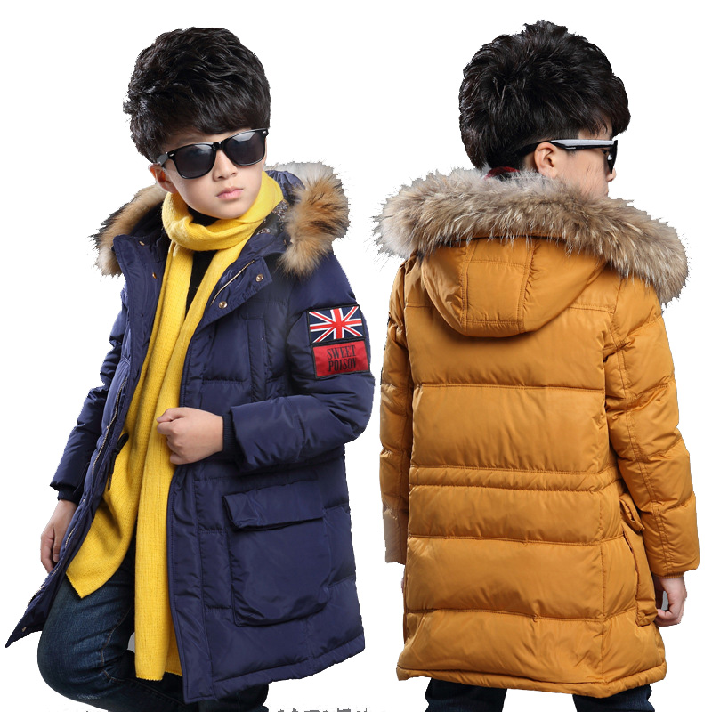 26cc59d48 Winter Coats For Boys Long Length Boys Down & Parkas Cotton Warm ...