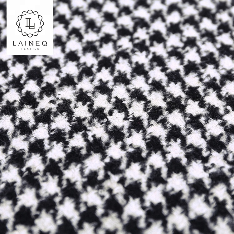 2021 newest famous brand warm touch houndstooth black and white wool fabric