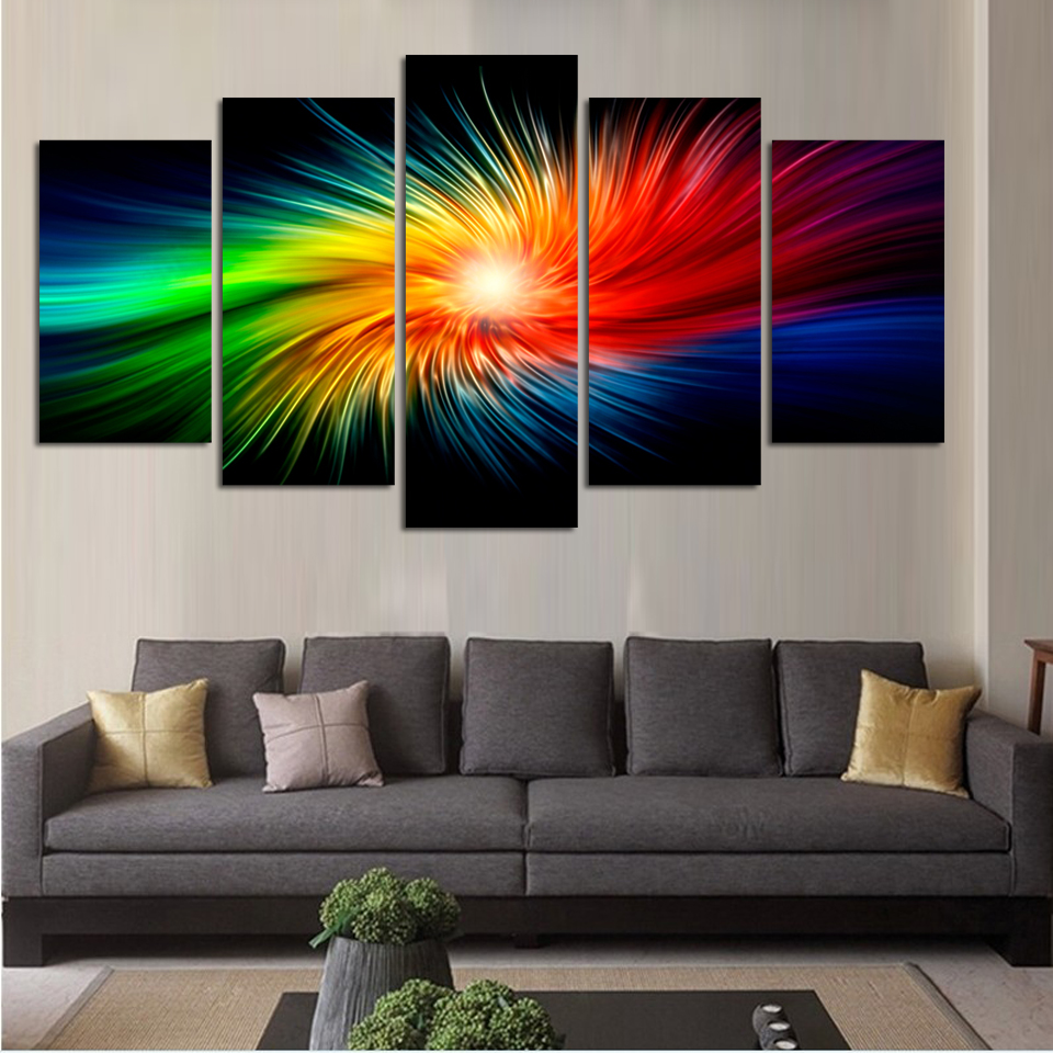 color painting canvas modern 3d 5 piece abstract wall art oil picture home decoration for living. Black Bedroom Furniture Sets. Home Design Ideas