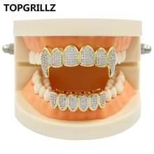 Набор для гриля TOPGRILLZ, с серебристым покрытием, с микро закрепкой, с верхним и нижним покрытием, с родиевыми зубцами, вампирский зуб, Grillz(Китай)