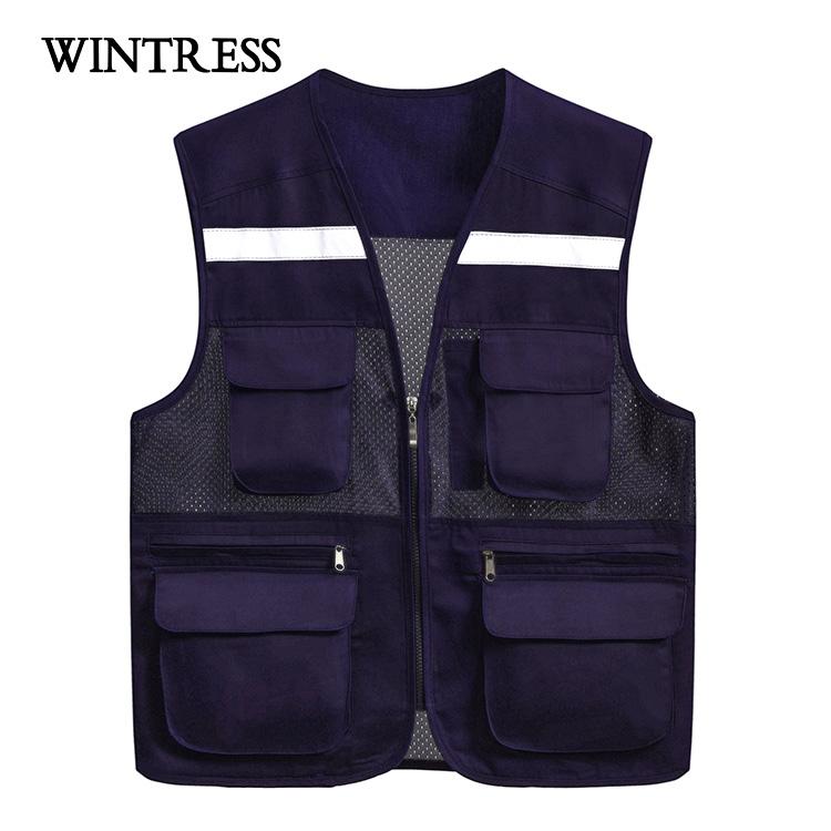 Safety workwear vest with mesh pocket men fishing vest with mesh