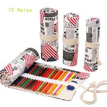 Рулон холщового карандаша, дорожный органайзер для рисования, чехол для карандашей чехол для 48 72 цветных карандашей(Китай)