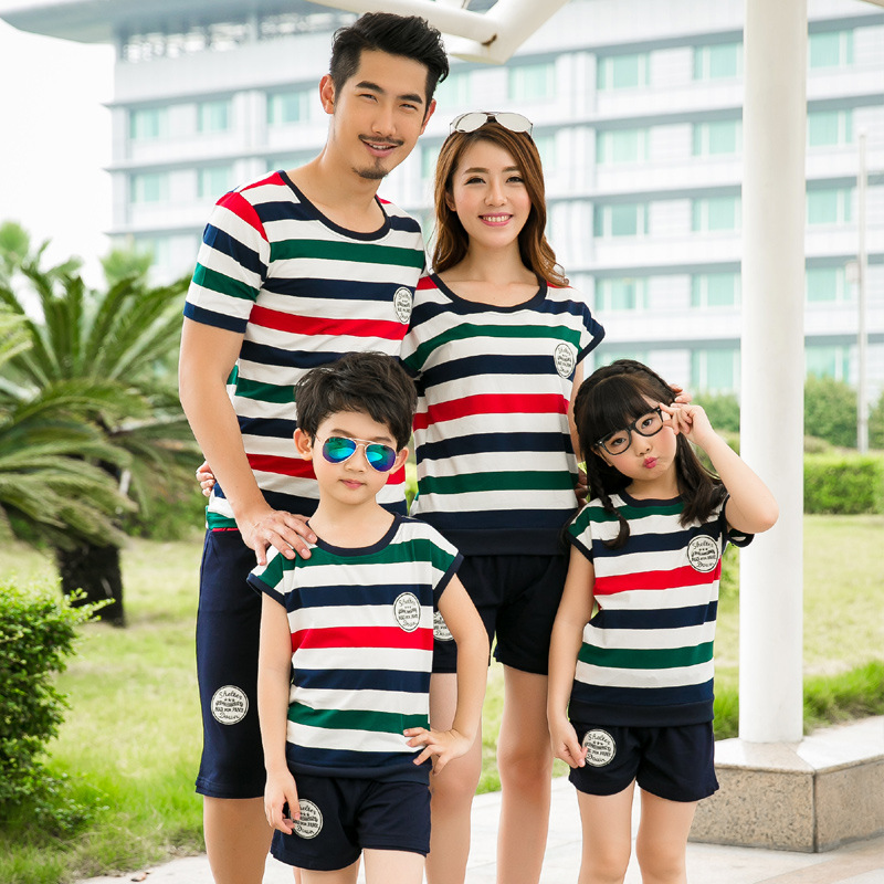 Summer Family Matching Outfits Short Sleeved Cotton Striped Badge T Shirt Shorts 2 Pcs Girls Father