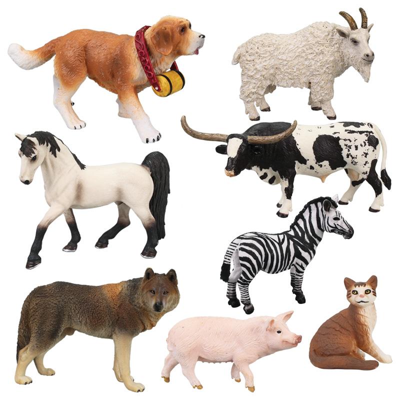 1st set: PVC Simulation Solid Plastic Model Wolf Goat Horse Animal Toys Animal Figurines Toys