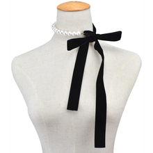 Панк длинный широкий чёрный Бархатный чокер с лентой, галстук-бабочка, бусы с искусственным жемчугом, ожерелье, Готическая бижутерия, новог...(Китай)