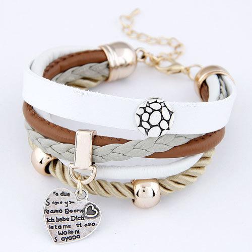 2015 мода джокер персик сердца кулон простой круглый металлический браслет кожаный multi-браслет для женщины ювелирные изделия оптовая продажа