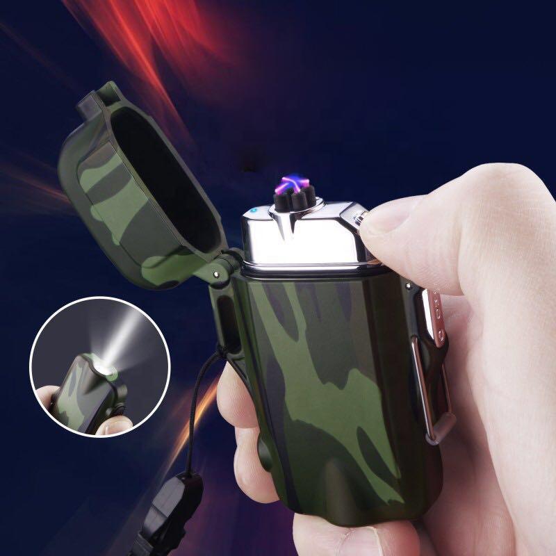 Перезаряжаемая двойная дуговая плазменная лучевая зажигалка, портативная электрическая ветрозащитная зажигалка с индикатором зажигания