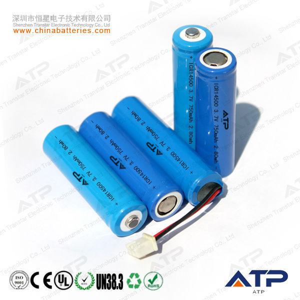 3 7v 750 Mah 14500 Aa Batterie Li Ion Li Ion Battery 3 7v 750 Mah 3 7v Icr 14500 Li Ion Rechargeable Battery View 3 7v Icr 14500 Li Ion Rechargeable Battery Atp Product Details