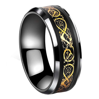 Inspire jewelry Black gold celtic dragon ring wedding band jewelry ring