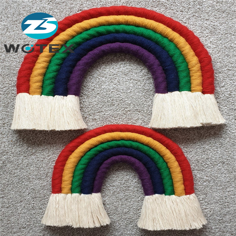 BM021 New boho home wall art decoration Handmade Macrame Rainbow long macrame woven rainbow tapestry