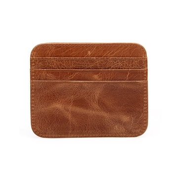 Round corner Brown Crazy Horse Leather business card holder Driving License Card Holder with RFID