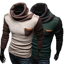 2014 New Men's Sweaters Turtleneck Patchwork Personalized Paper superscript Design Pullovers Cardigan Men Clothing