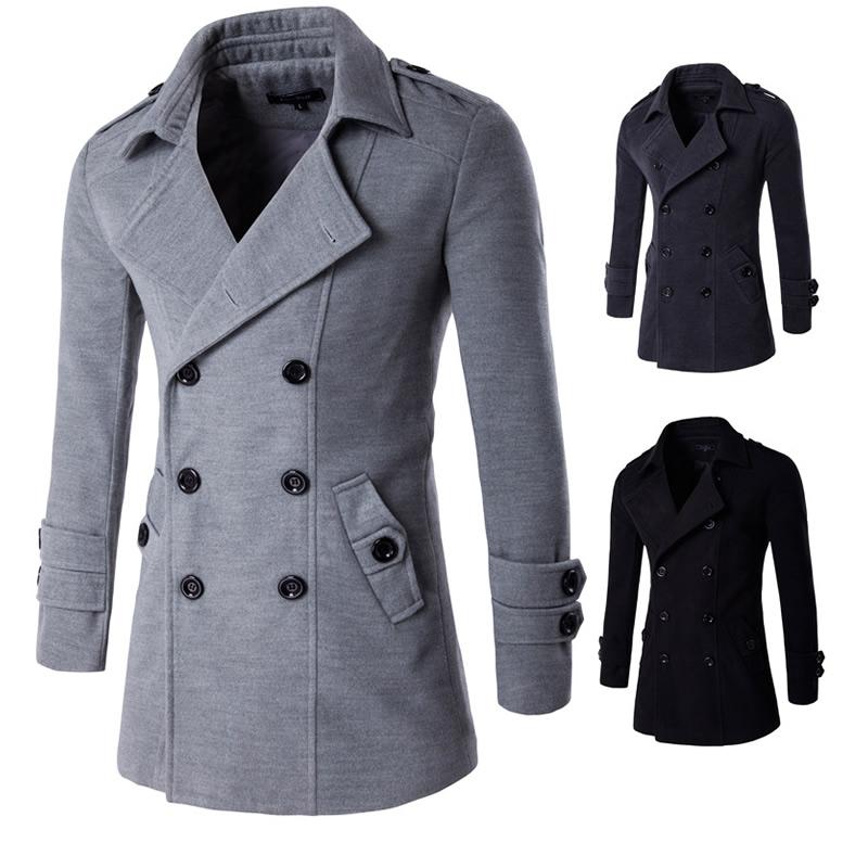 Mens Trench Coat 2018 Winter Long Wool Trench Coat Men Slim Fit Pea Coat Windbreaker Casual Mens Jackets Coats Abrigo Hombre Last Style Men's Clothing