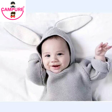 Roztomilá bavlněná mikina s kapucí a králičími oušky pro děti