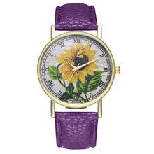 Простые роскошные часы из искусственной кожи, кварцевые наручные часы с рисунком подсолнуха, женские часы для пары, ювелирные изделия WS & 50(Китай)