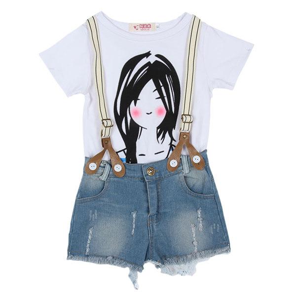 2016 Summer Baby Girls Kids Top Shirt+Bib Pants Cropped ...