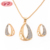 China Manufacturer Gold Plated Diamond Necklace And Earring Set