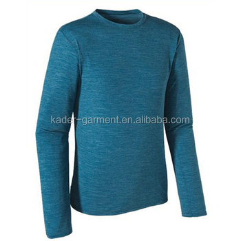 High quality crew neck tri blend long sleeve t shirt for men wholesale garment