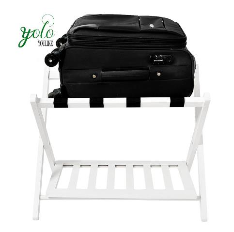 White Color Stand Wood Bamboo Folding Luggage Rack For Bedrooms