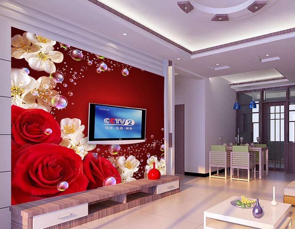 Aliexpress.com : Buy Custom 3d Wallpaper Murals Red Rose