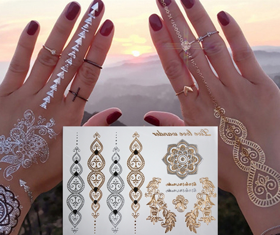 d5243bc8d gold tattoo sex products necklace bracelets tatoo metal temporary tattoo  women flash metalic fake gold silver