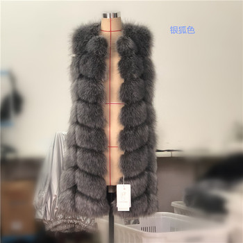 high quality faux fox fur vest long design women's slim outerwear coats genuine leather square top rated fur waistcoat cloth