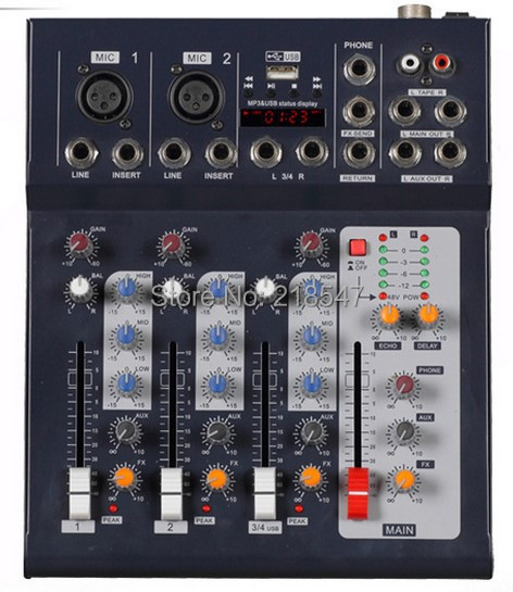 professional 4 channel build in vocal effect 48 phantom power supply audio mixer with usb. Black Bedroom Furniture Sets. Home Design Ideas