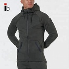 New Fitness Gym Jogging Pockets Sports Fleece Hoodies Men Jacket With Hat