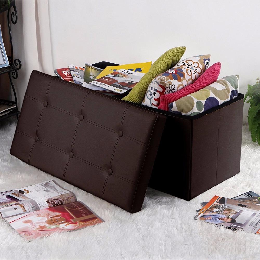 cheap inexpensive brown faux leather ottoman seat storage box ottoman