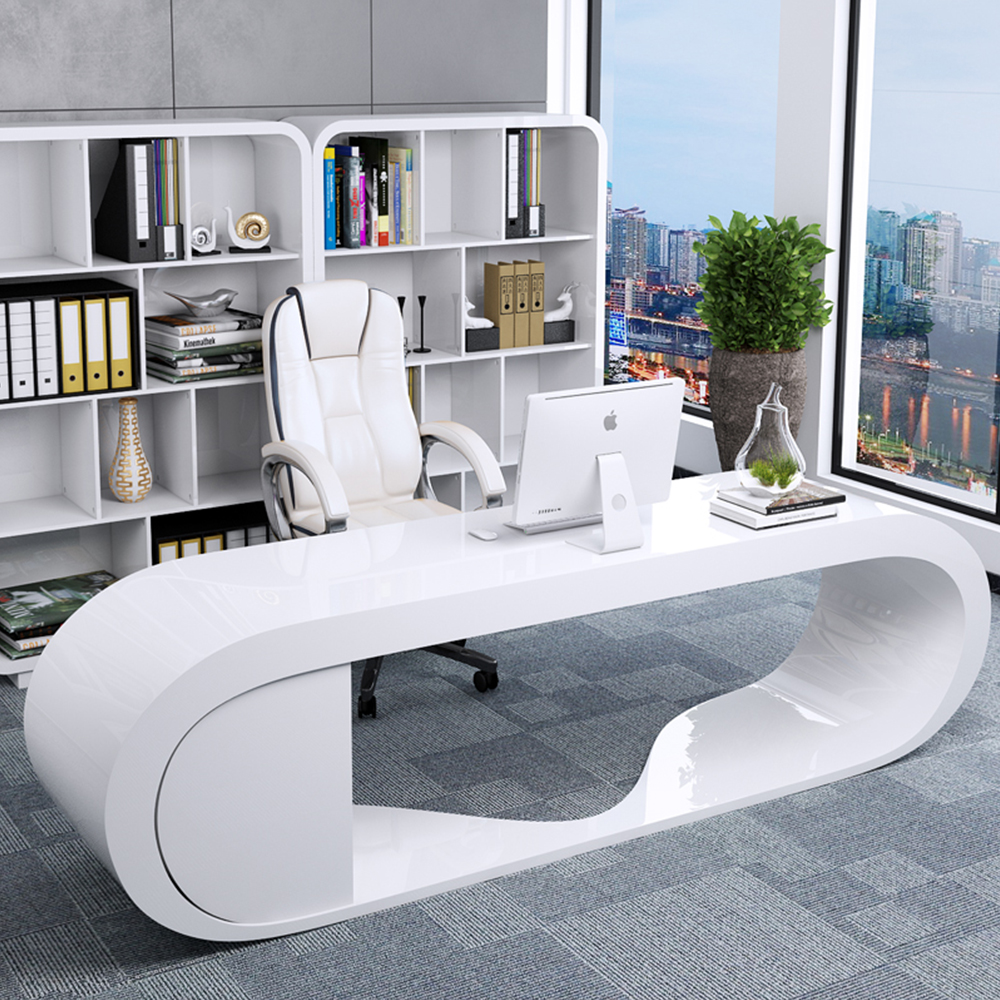 Cheap Round Edge Design Ceo White Google Modern Office Desk View Goggle Desk Luomansi Product Details From Foshan Romances Furniture Co Ltd On Alibaba Com