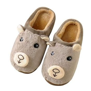 2018 winter new styles cartoon bear home warm non-slip children's slippers