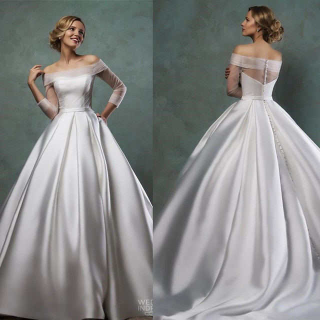 Elegant Silk Wedding Dresses With Sleeves: Elegant Wedding Dresses Off Shoulder Long Sleeve Wedding