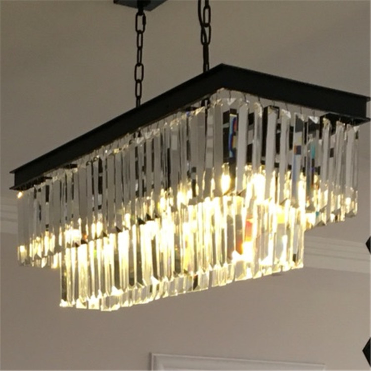 Modern European Large and luxury odeon rectangle led k9 crystal Chandelier for hotel lighting