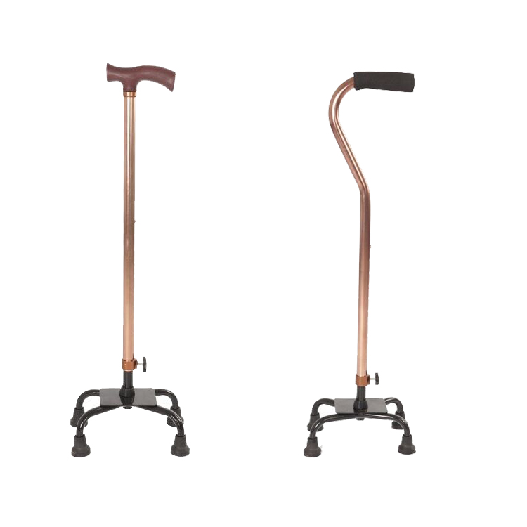 China Factory Supplied Aluminium Alloy Four Legs Retractable Walking Stick Crutches to India Importer
