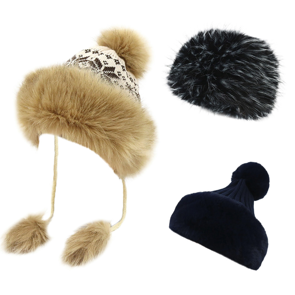 7bd14268131 Lady Luxury Winter Fleece Lined Bobble Beanie Hat With Faux Fur Trim ...