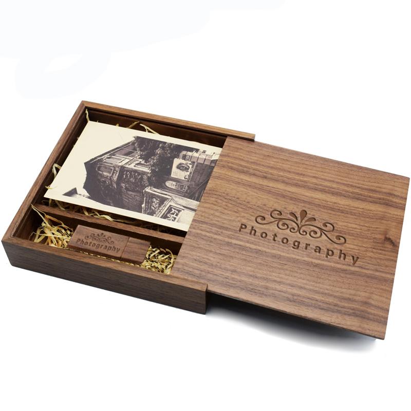 Walnut Wooden Photo Album Box Usb 2 0 Flash Drive Pendrive Custom Engraved Logo Wedding Gifts Packaging Wood Box Buy Wooden Usb Stick Packaging Box Usb Wooden Box Wedding Usb Wood Box Product