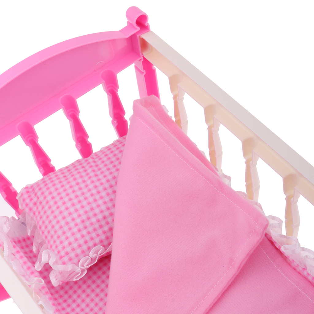 Dollhouse Princess Pink Cradle Bed Furniture Decor for 9-11inch Reborn Girl Baby Doll Kids Pretend Play Toy Birthday Gift