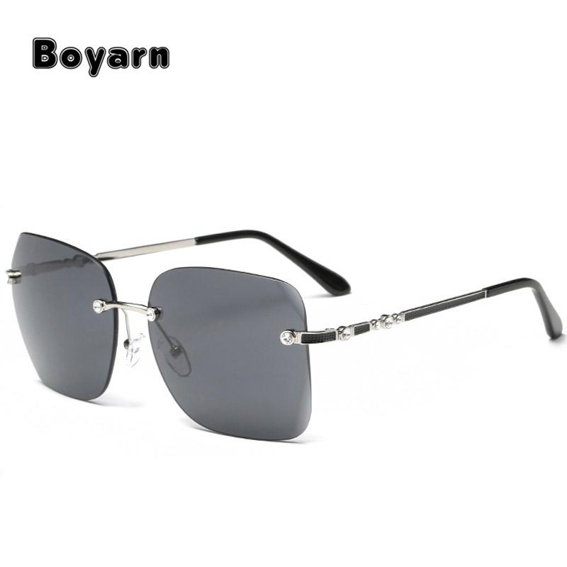 LumiSyne Randlos Sonnenbrille Damen Diamant Schneiden Transparente Verlaufsgl/äser Strasssteine Verziert Rahmen UV400 /Übergro/ß Sonnenbrille Rahmenlos