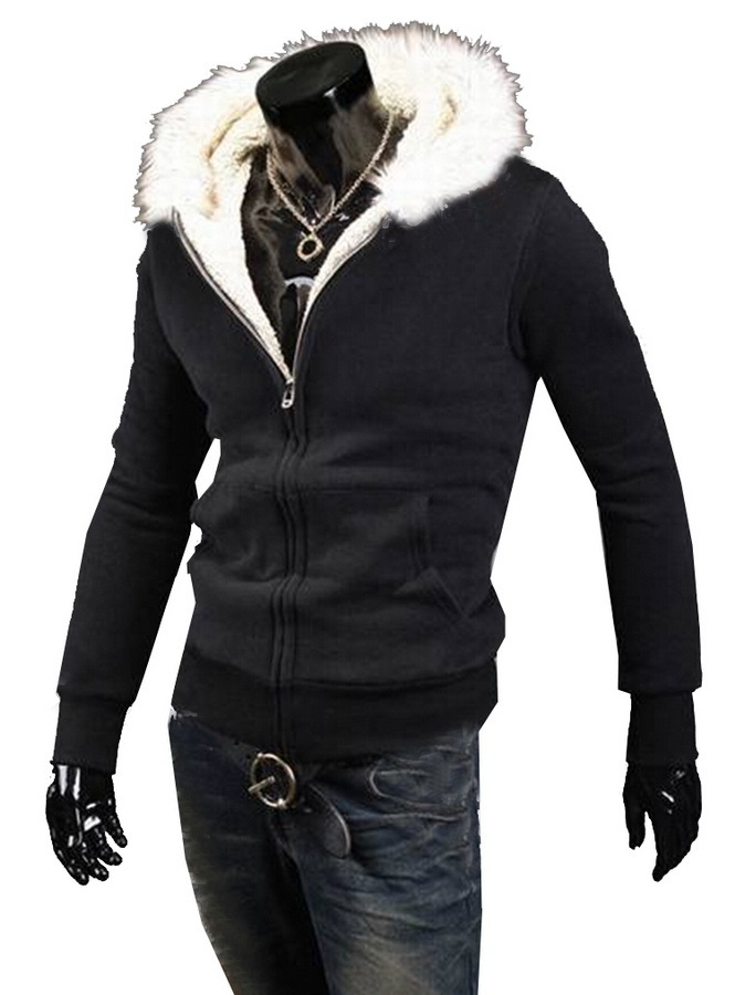 Luxury Brand New Winter Fashion Man Brown Hooded Leather